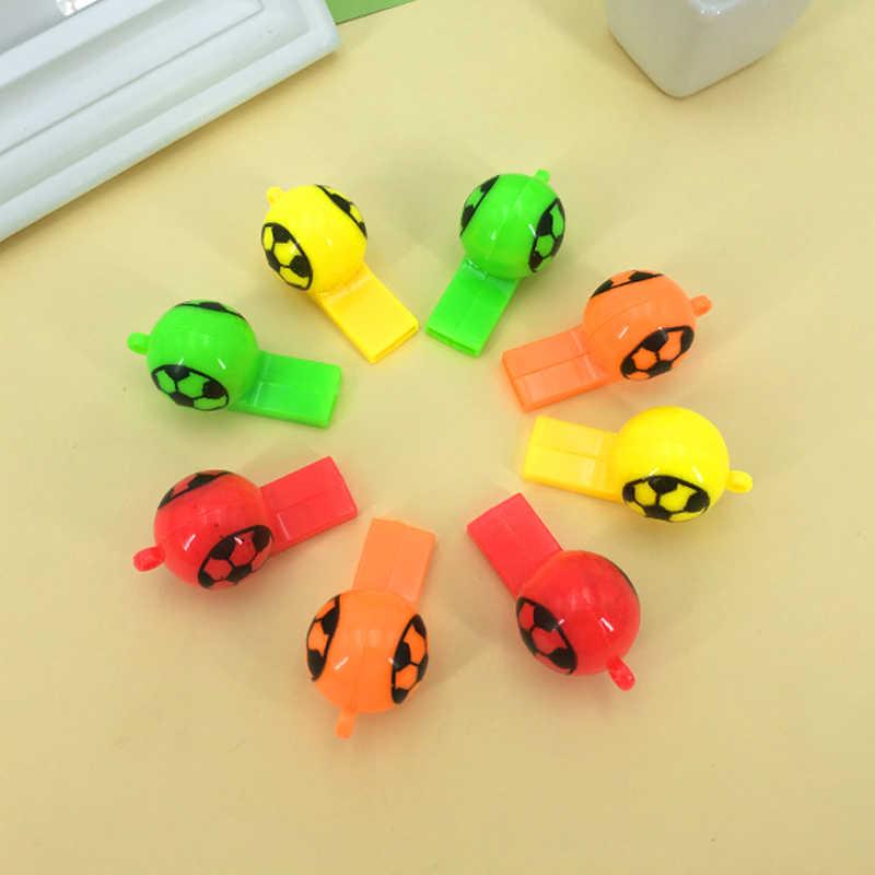 פלסטיק צבע כדורגל ססגוניות שריקת משרוקית ילדים צעצועי משרוקית תינוק חג מתנות