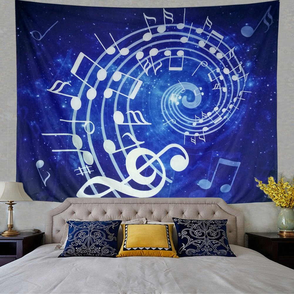 Wall Hanging Blue Music Note Hippie Bohemian Psychedelic Mandala Tapestry For Bedroom Home Dorm Decor