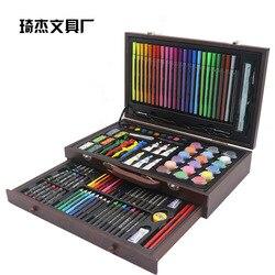 Artículos de papelería para niños 130 piezas Juego de pinceles herramienta de pintura acuarela pluma Arte Fino aprendizaje papelería pintado suministros