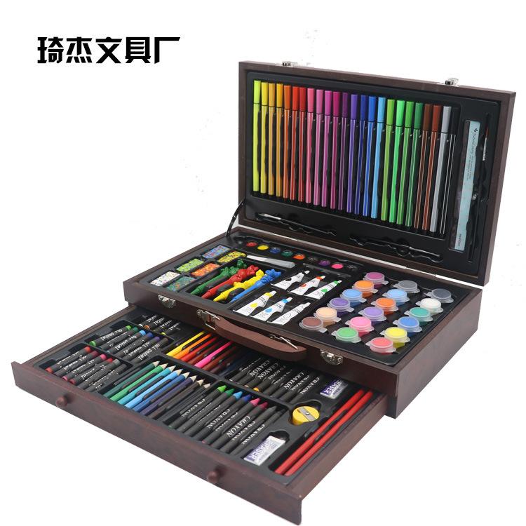 Children Stationery 130 Pieces Paintbrush Set Painting Tool Watercolor Pen Fine Art Learning Stationery Painted Supplies