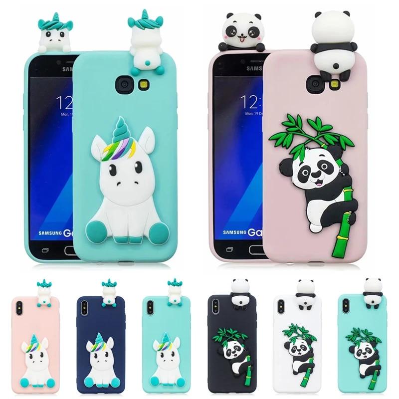 3D Kawaii Panda Unicorn Silicone Cover on for Coque Samsung Galaxy J7 J5 J3 2016 A7 A3 A5 2017 Case Funda Etui Women Children