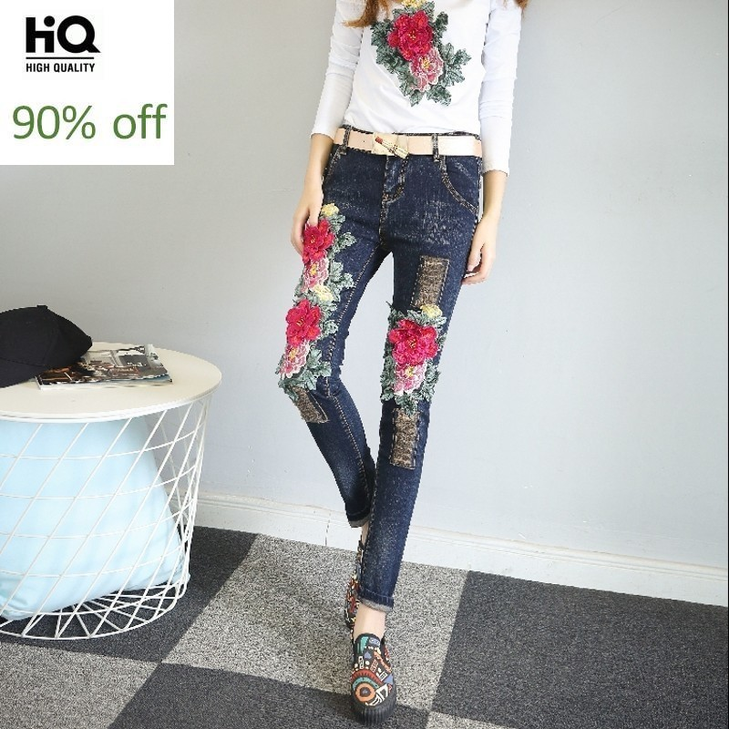 New Indie Folk Mid Waist Embroidery Floral Patchwork Autumn Pantalon Mujer Ripped Retro Top Streetwear Denim Trousers For Women