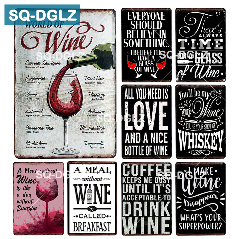 [SQ-DGLZ] WORLD OF WINES Metal Sign Vintage Tin Sign Bar Wall Decor Metal Crafts Home Decor Painting Plaques Art Poster