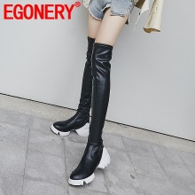 EGONERY women shoes winter new warm casual round toe zip over knee boots outside comfortable mid heels platform sneakers shoes egonery fashion shoes super high heels cobra black zipper women ankle boots platform ol round toe winter warm shoes