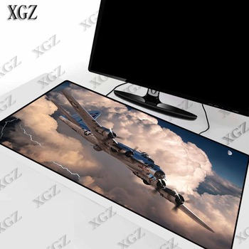 XGZ Plane Flies In The Clouds Large Gaming Mouse Pad Gamer Locking Edge Keyboard  Mat Desk for CS GO LOL Dota Game XXL