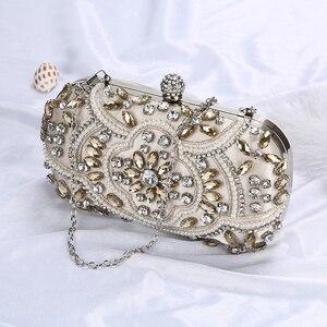 Image 5 - 結婚式クラッチバッグ女性シルバークラッチ財布高級パーティーバッグダイヤモンドチェーンハンドバッグクラッチラインストーンボルサfeminina ZD1336