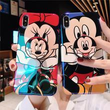 Funda divertida linda del teléfono de la luz azul del ratón de la historieta para el iPhone 8 7 6 s Plus X XR XS 11 Pro max Lovely Girly soporte pareja cubierta