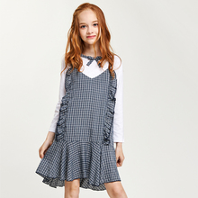 CupofSweet 2pcs Contrast Dolly Girls Dress Set Kid Clothing 2019 Autumn Fashion Long Sleeves Shirt Casual Kids Girl Dresses