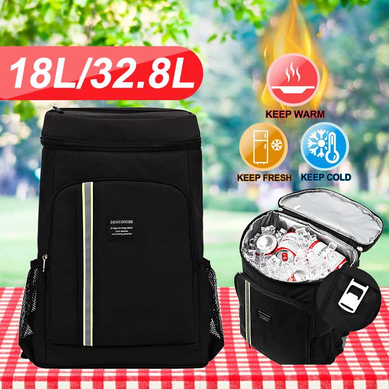 18L/32.8L Large Size Thicken Cooler Bag Outdoor Picnic Backpack Food Container For Fruits Beer Multilayer Storage image