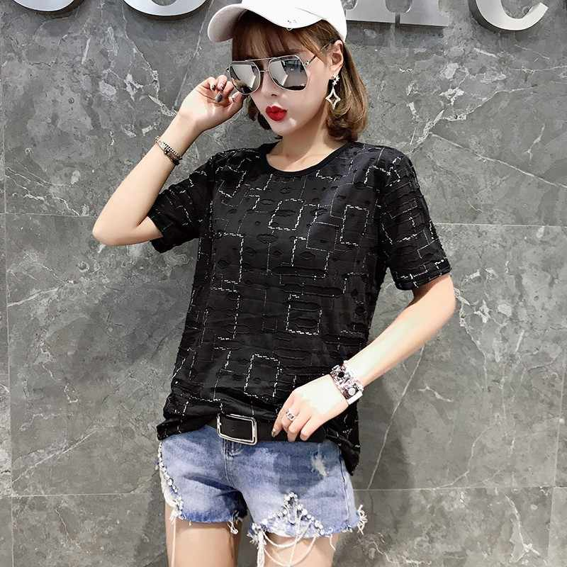Fashion Lubang Berongga Keluar T-shirt Wanita 2020 Baru Musim Panas Pendek Lengan Longgar Atasan Wanita Korea Kasual Streetwear