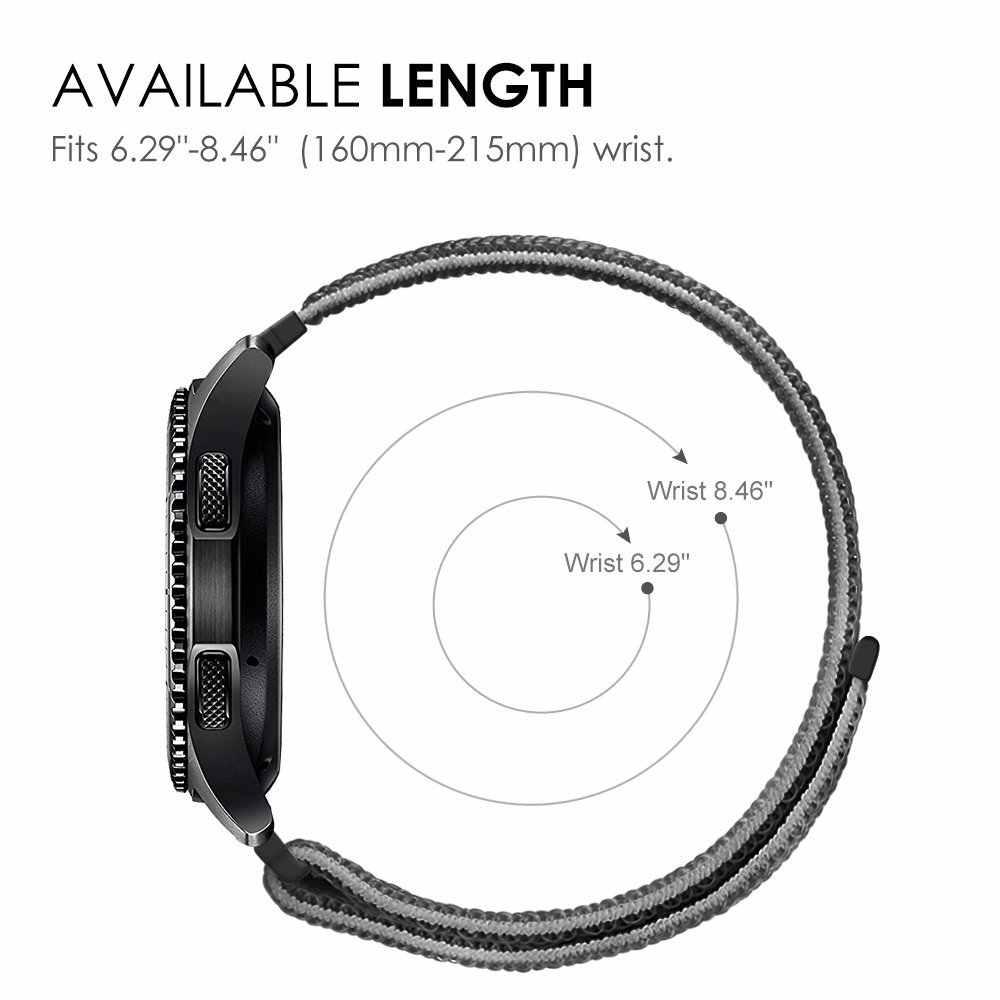 Cinturino in Nylon 22mm 20mm con gancio a gancio per cinturini di ricambio Amazfit Huawei Samsung Gear S3 Sport