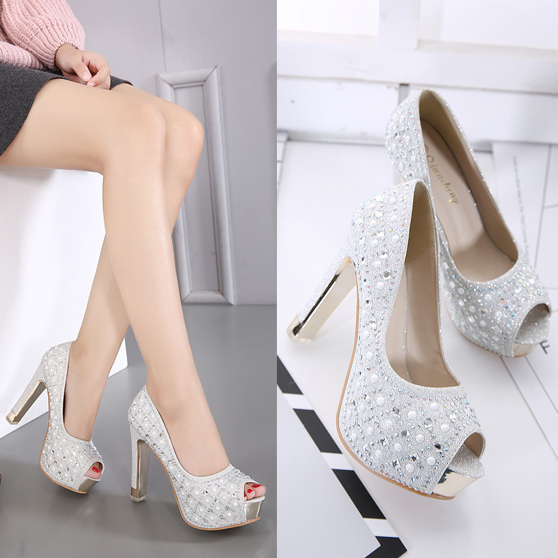 Gold Lace Up Heels Chunky Sandals Women Shoes 2019 Spring Pumps Footwear Peep Toe Nude Latest Shallow Mouth Basketball Platform