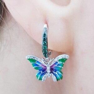 Image 5 - SANTUZZA Silver Earrings For Women 925 Sterling Silver Butterfly Earrings Silver Cubic Zirconia brincos Party Jewelry Enamel