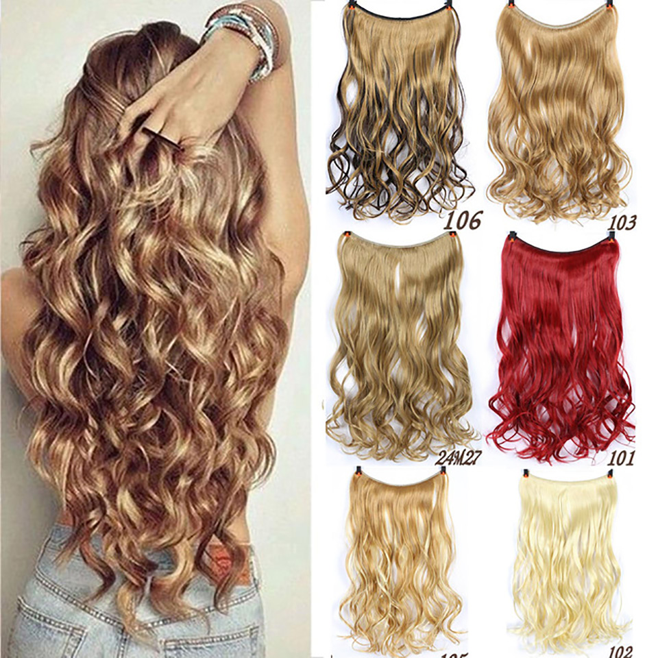 Buqi Long Straight Invisible String Flip-On No Clip In Hair Extensions Fish Line Synthetic Hairpieces For Adult Women