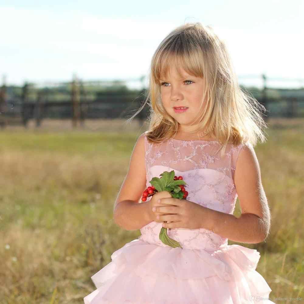Розовое платье с цветочным узором для девочек; Платья с многослойной юбкой с оборками; Бальное платье с прозрачной горловиной; Детское платье для выпускного вечера; Платье для дня рождения на заказ