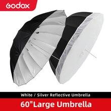 Godox 60 cali 150cm czarny biały lub srebrny parasol odblaskowy oświetlenie studyjne lekki parasol z dużą pokrywa dyfuzora