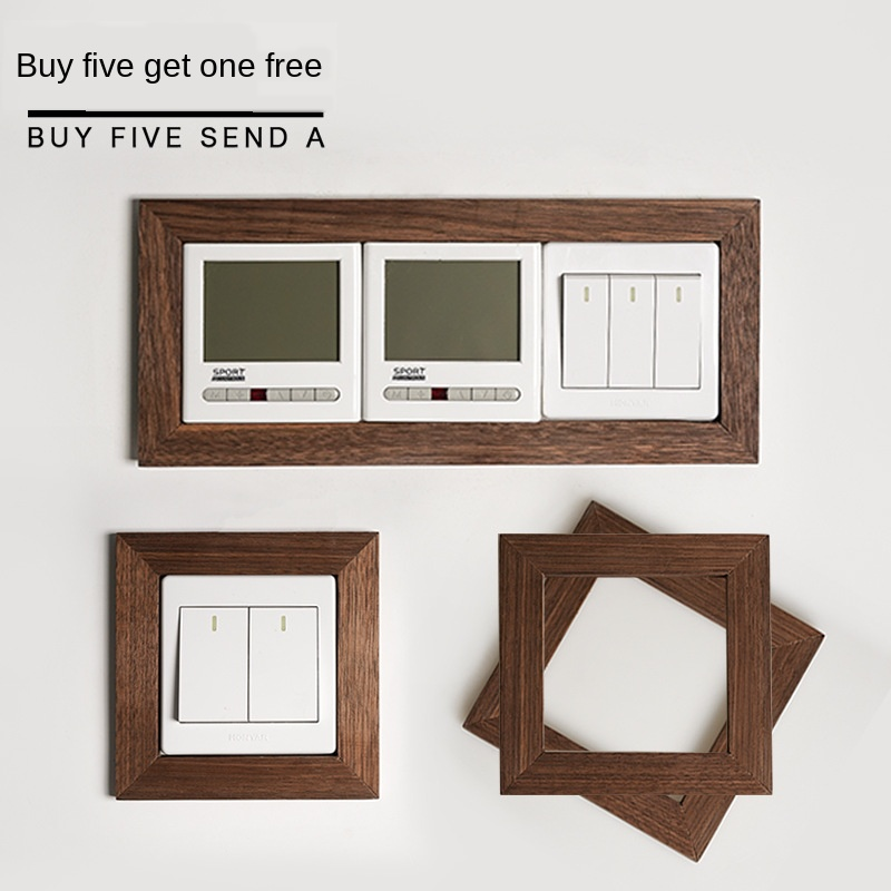 Solid Wood Switch Wall Sticker Household Protective Cover Creative Plug Socket Decorative Frame Shielding Self-adhesive Free