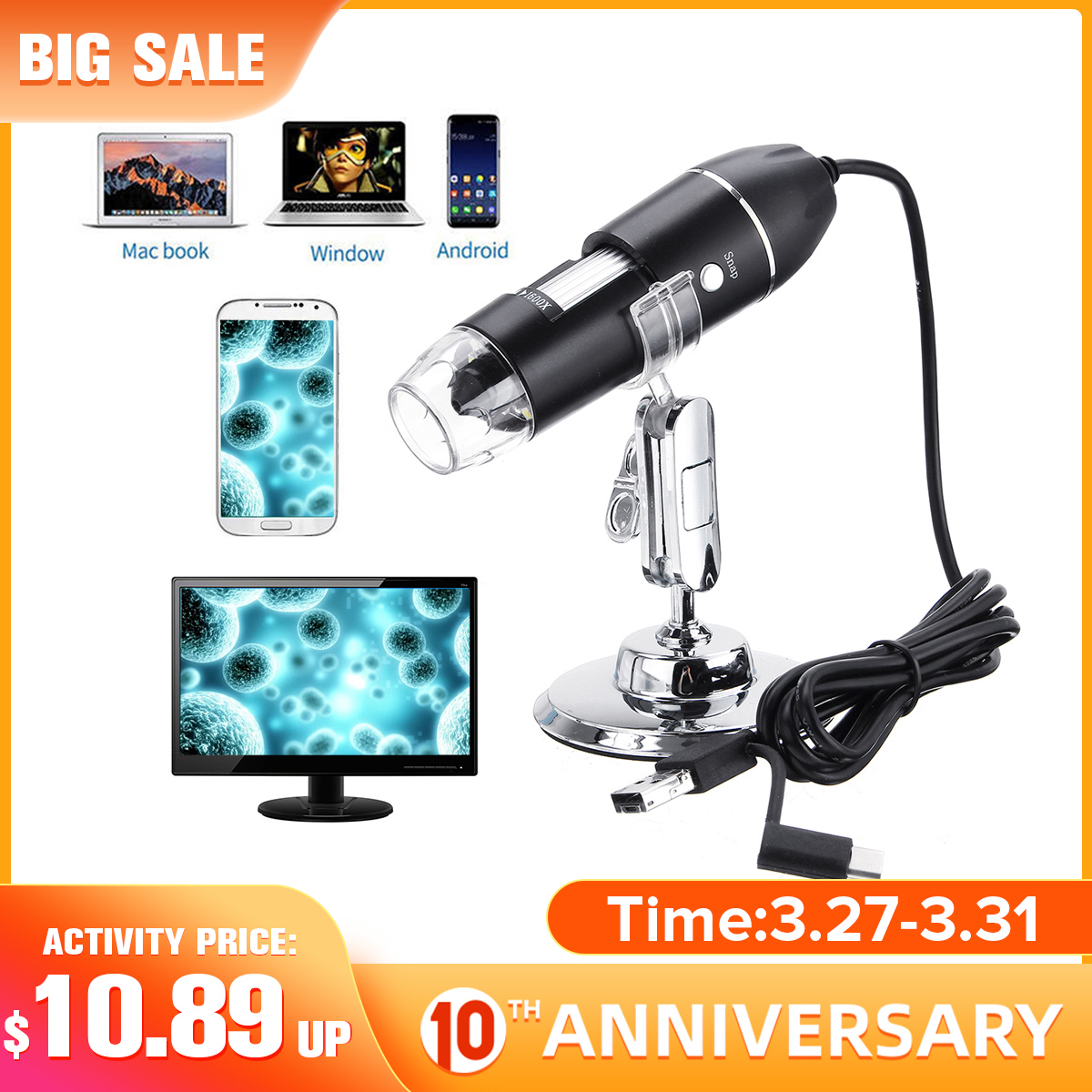 500X 1000X 1600X 3 In 1 New Portable USB Type-c Handheld Digital Microscope 8 LED Endoscope USB Zoom Magnifier Camera Stand