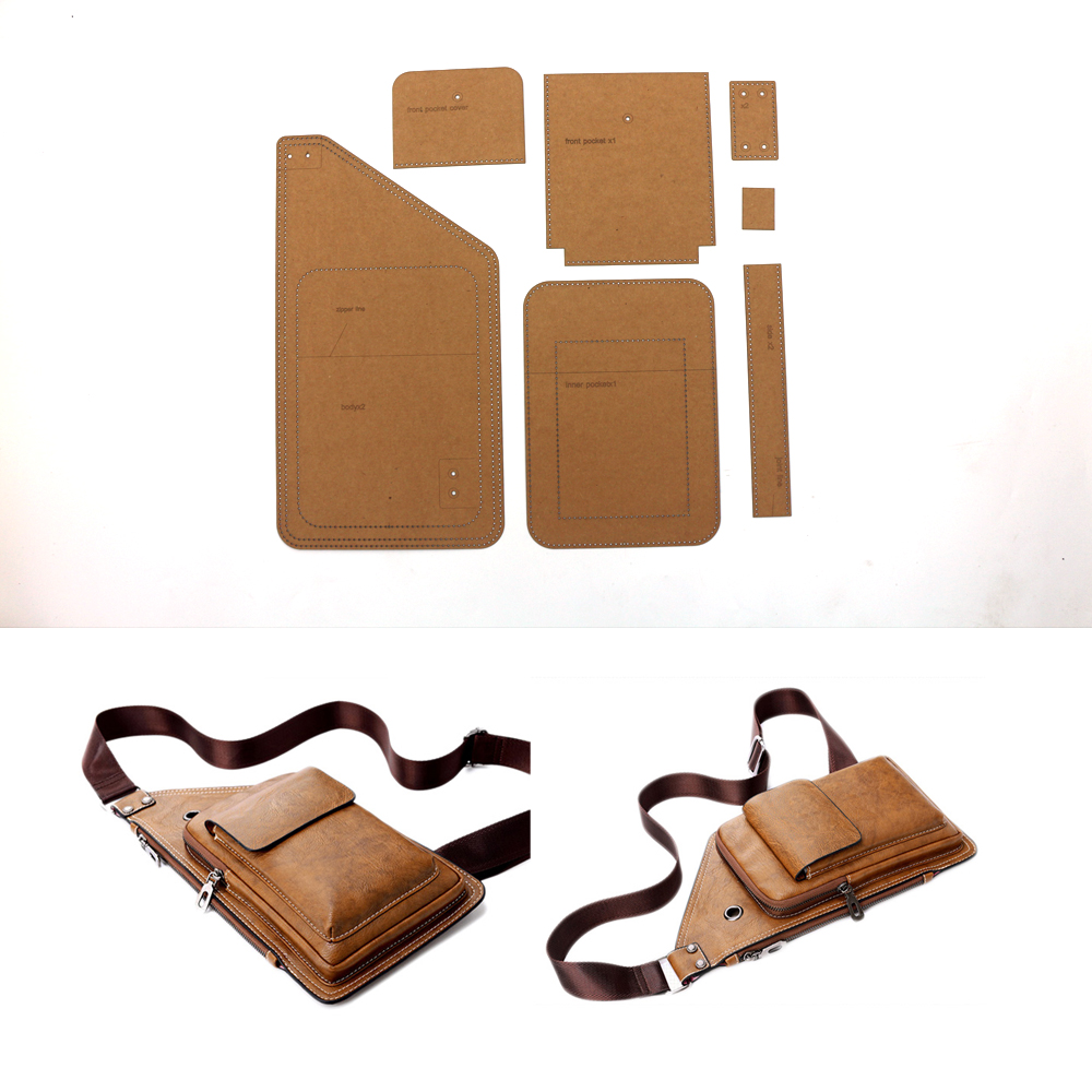 DIY Leather Craft Men Big Size Chest Bag Kraft Template Sewing Pattern Set 37x20cm