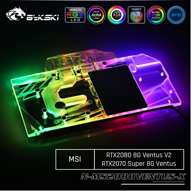 Bykski N-MS2080VENTUS-X, Full Cover Graphics Card Water Cooling Block,For MSI RTX2080 8G Ventus V2/ RTX2070 Super 8G Ventus