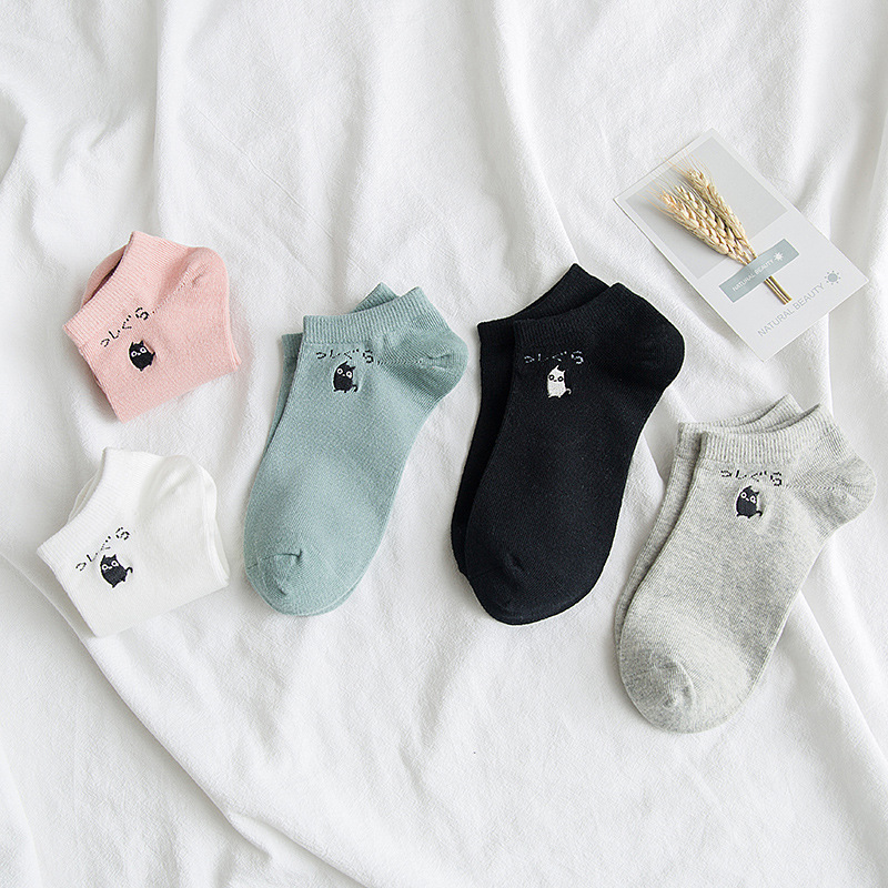 Simple Cartoon Cat Embroidery Short Sock Shallow Mouth Breathable Comfortable Sweat Women Cotton Short Sock Hosiery