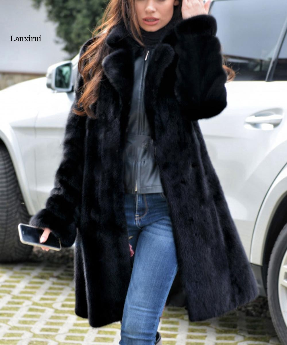 Autumn Winter New Mink Coat Imitation Fur Coat Long Warm Winter Windbreaker Europe And The United States Code S-4XL