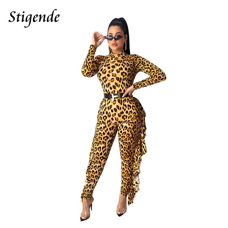 Stigende Casual Bodycon Leopard Print Ruffle Jumpsuit Women Autumn Long Sleeve Slim Jumpsuit Stylish Sexy Club Party Jumpsuit