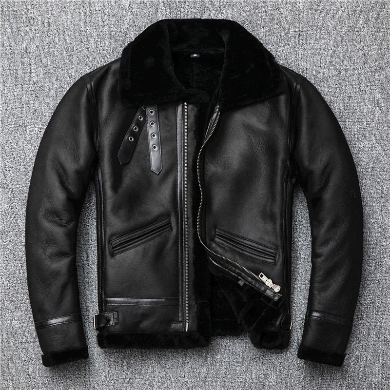 2020 Black Men American Style B3 Pilot Leather Jacket Plus Size XXXXL Genuine Thick Winter Natural Shearling Coat FREE SHIPPING