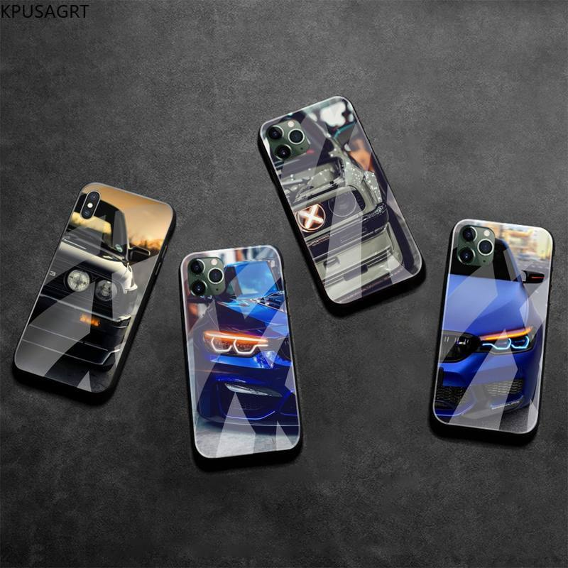 Blue Red Car for Bmw Phone Case Tempered Glass For iPhone 11 Pro XR XS MAX 8 X 7 6S 6 Plus SE 2020 case image