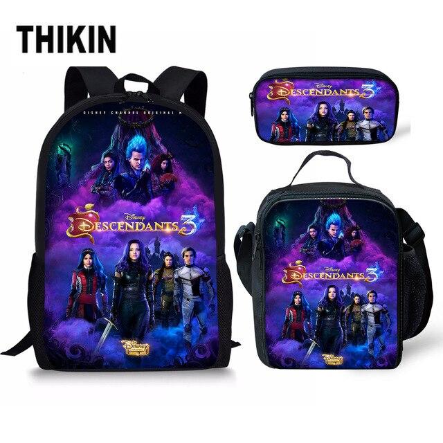 THIKIN Descendants Backpack For Teenage Boys Girls Student School Bag 3pcs/set Custom Schoolbags For Teenage Students Custom Bag