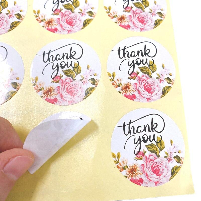 1200 pcslote bonito redondo obrigado flor adesivo 04