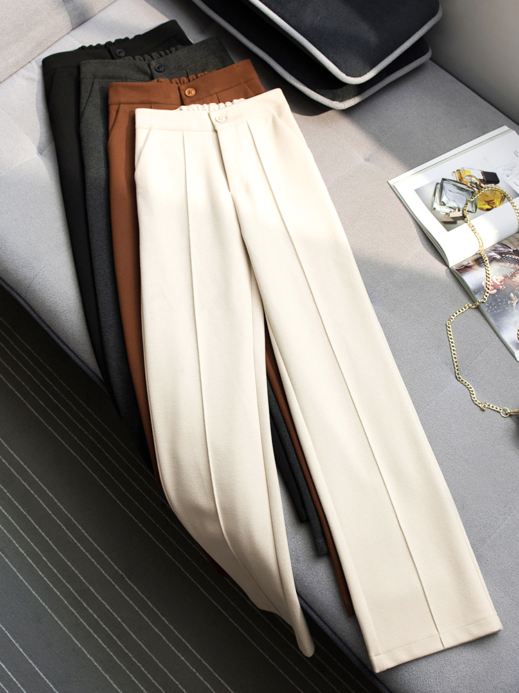 Leg-Pants Mopping-Trousers Loose Autumn Wide High-Waist Straight Winter Women's Casual title=