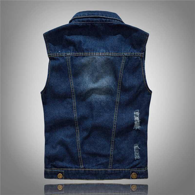 Heflashor Mannen Denim Jeans Vest Jas Ripped Slim Pocket Mouwloze Jas 5XL 2020 Mannelijke Streetwear Cowboy Vest Jassen