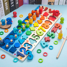 Building-Blocks for Kids Educational Matching-Toy Montessori Math Wooden Digital-Shape
