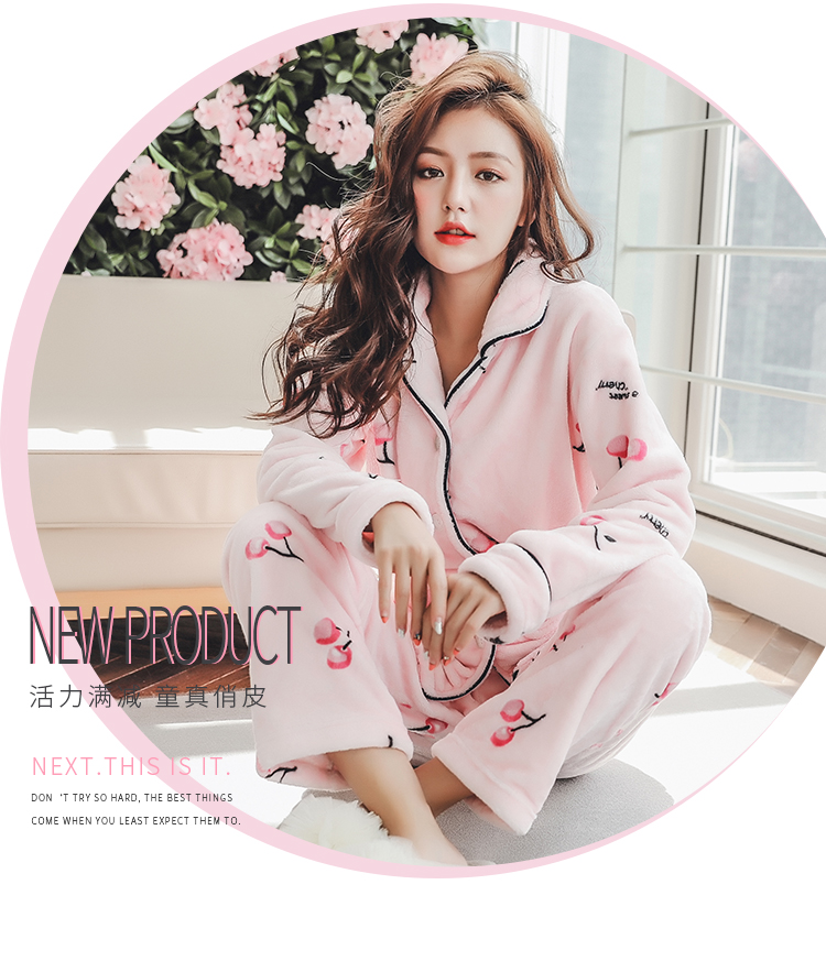 Plus Size 3XL 4XL 5XL Pyjamas women winter new Korean kawaii pink coral fleece warm pajama set thick flannel pijama home service 175
