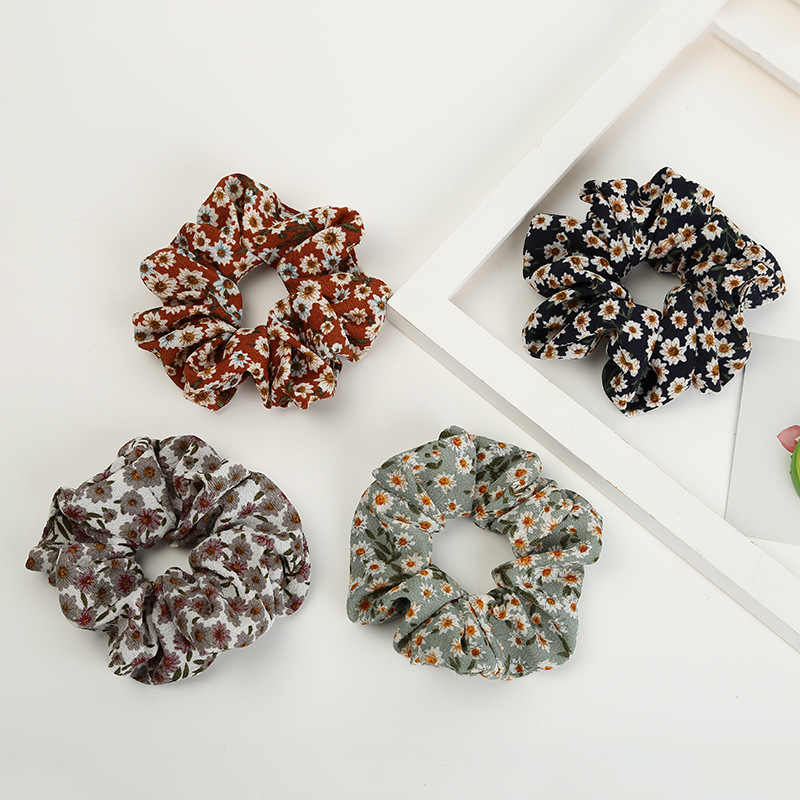 New Lovely Fashion Flower Printed Ponytail Holder Hair Scrunchies Vintage Floral Hair Band HairBands for Girl Women Accessories