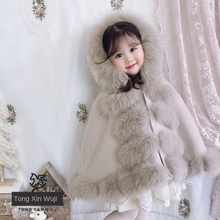 Cape cape children autumn and winter out of the female wind-proof fox fur princess coat fur cashmere baby thickened