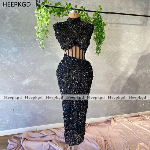 Sparkly Red 2021 Prom Dresses Illusion Sheath High Neck Sequins Black Girls Graduation Wedding Party Prom Gowns Plus Size 2