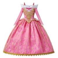 Новогодний костюм Спящей красавицы для девочек; платье принцессы Авроры; Розовое Бальное Платье с длинными рукавами и цветочным принтом дл...
