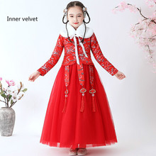 New embroidery Chinese knot cheongsam children's princess dress Chinese style Hanfu girl's dress Chinese Style Inner velvet instahot hoodies floral embroidery dark black gothic punk velvet flare long sleeve cheongsam dress chinese style casual autumn