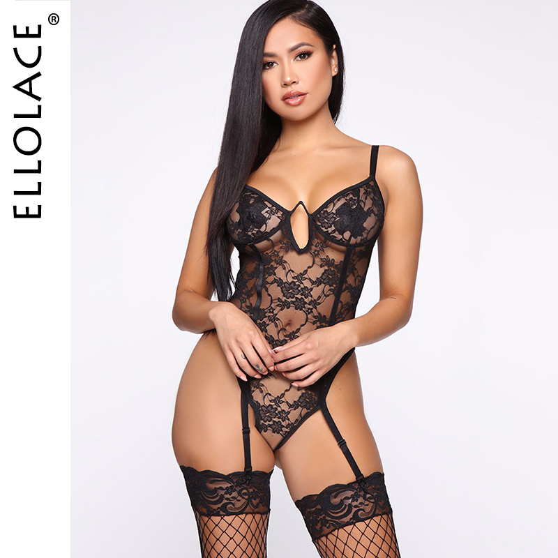 Ellolace Lace Sexy Bodysuit See Through Bodycon Body Women Backless Sleeveless Rompers Slim Sexy Overalls Black Bodydoll New