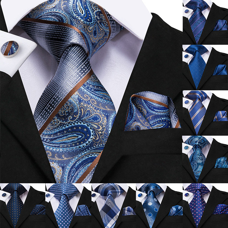 8.5cm Silk Men's Fashion Blue Paisley Tie Necktie Handkerchief Cufflinks Set Men's Wedding Party Business Tie Set