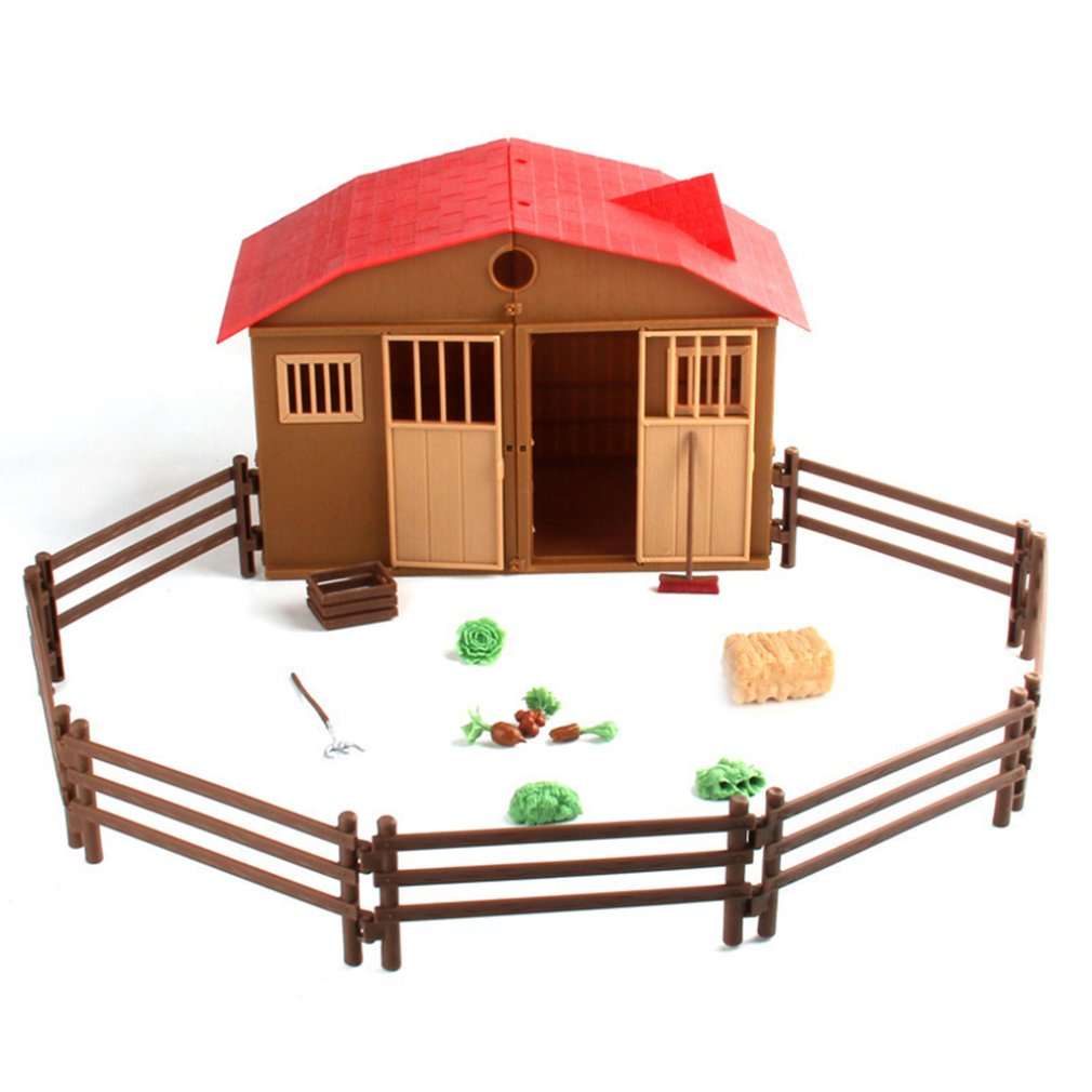 Simulation Farm Ranch Cabin House Animal And Plant Fence Diy Assembly Sand Table Scene Model Toy Fashion