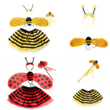 Kinderen Dag Geschenken 4 Pcs Novelty Bee Vleugels Hoofdband Toverstaf Rok Kids Cosplay Prinses Animal Kostuums Fancy Accessoires(China)
