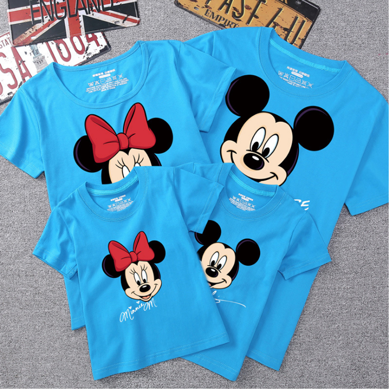 ครอบครัวฤดูร้อนชุด Mommy Daddy เด็ก SON เด็กเสื้อยืดเสื้อครอบครัวเสื้อผ้าเด็ก Mickey Minnie เสื้อการถ่ายภาพ