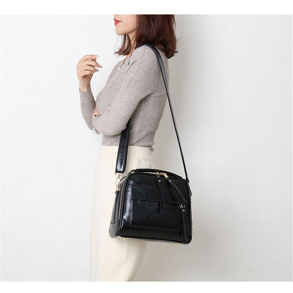 Image 3 - Genuine Leather Luxury Handbags Women Bags Designer Vintage Ladies Double Layer Inner Shoulder Bag Crossbody Bags for Women 2019-in Top-Handle Bags from Luggage & Bags