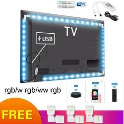 Rvb RGBW USB led bande WIFI TV lumière ordinateur écran retour biais bande lumière 5V 5050 LED TV rétro éclairage Alexa Google maison intelligente
