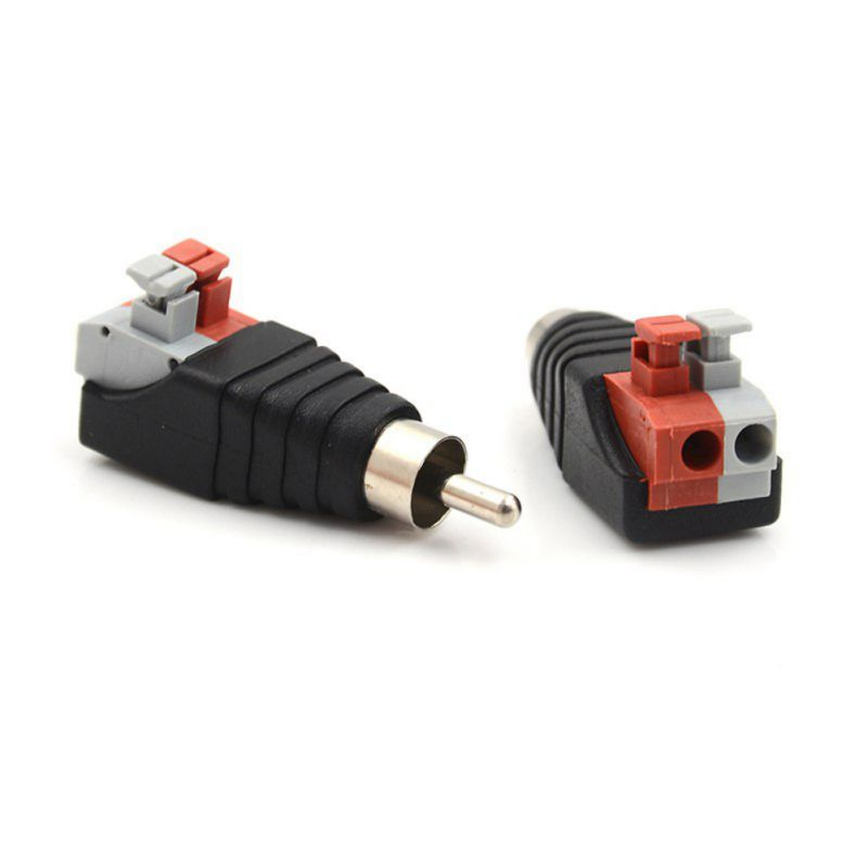 Jack Plug 2pcs/set Audio Adapter Plastic Metal Speaker Wire Cable Cord Portable Male RCA Connector