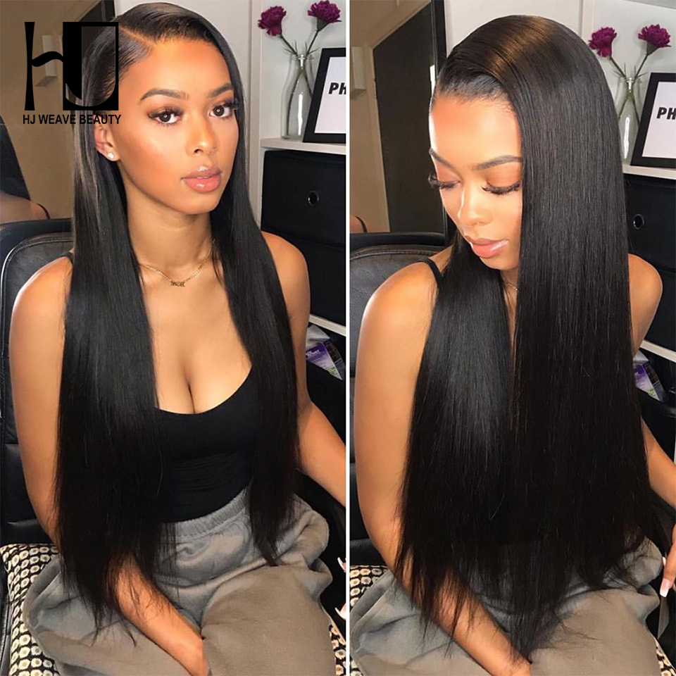 13x6 Lace Front Human Hair Wigs Brazilian Straight HD Swiss Thin Lace Virgin Hair Transparent Lace Wigs HJ Weave Beauty