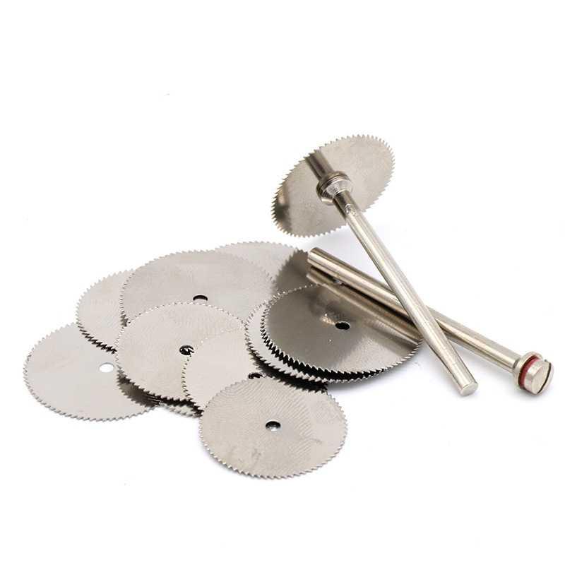 10 ชิ้น/เซ็ตสแตนเลสเหล็กแผ่นตัดโลหะ 2 Mandrel สำหรับ Dremel เครื่องมือโรตารี่ 16 18 22 25 มมตัดเครื่องมือ